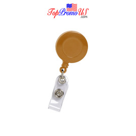Retractable ID Badge Reel Holder (Brown)