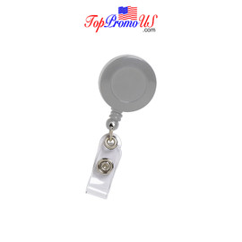 Retractable ID Badge Reel Holder (Grey)