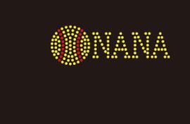 (Small 4.75x1.6) Softball  Nana (3mm stones) McCabe Rhinestone Transfer