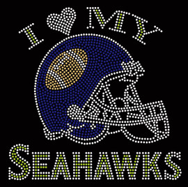 I Love my Seahawks Helmet Rhinestone transfer