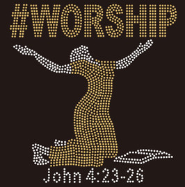 (Golden new Bold font) #WORSHIP Lady with bible Rhinestone Transfer