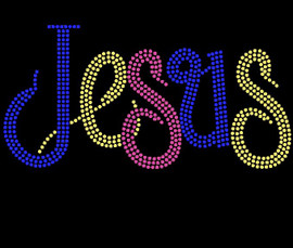 Jesus in Color (Cobalt) Custom Rhinestone transfer