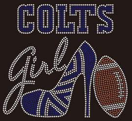 Colts girl Heel Football Rhinestone Transfer