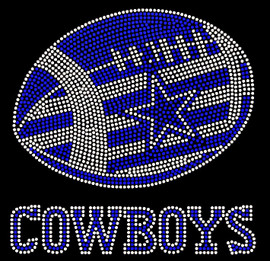 Cowboys Football custom blue star inside football Rhinestone Transfer