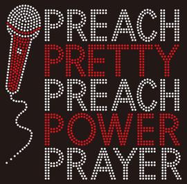 Microphone, Preach Pretty Preach Power Prayer (Red) Rhinestone Transfer