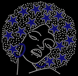 Cowboys Star hair Lady blue earing Rhinestone Transfer