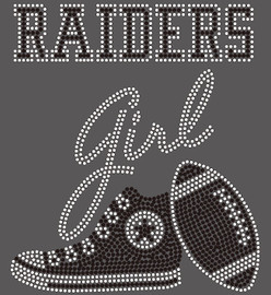 Raiders girl Tennis shoe sneaker football Rhinestone Transfer