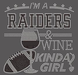 Raiders Wine Kinda girl football Rhinestone Transfer