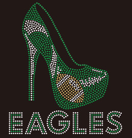 Eagles one Heel football Rhinestone transfer