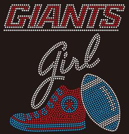Giants girl Tennis shoe sneaker custom Rhinestone transfer