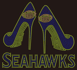Seahawks 2 Heels custom Rhinestone transfer