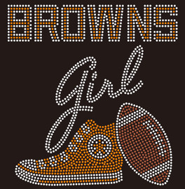 Cleveland Browns girl Tennis shoe Sneaker Rhinestone Transfer