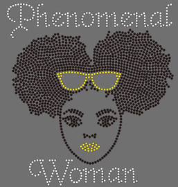 Phenomenal Woman Yellow Glass Puff hair girl Rhinestone transfer