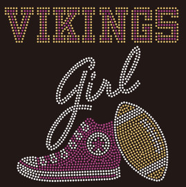 Vikings girl Tennis shoe Sneaker Football Rhinestone Transfer
