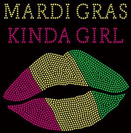 (Fuchsia) Mardi Gras Kinda Girl Lips Rhinestone transfer