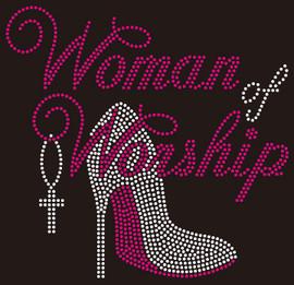 Woman of Worship Heel Rhinestone transfer