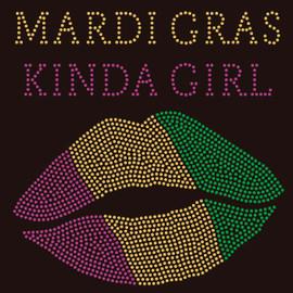 (Purple) Mardi Gras Kinda Girl Lips Rhinestone transfer