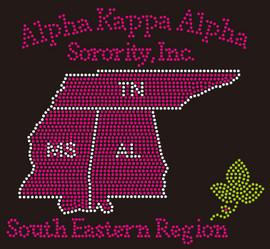 Alpha Kappa Alpha TN MS AL Map custom Rhinestone transfer