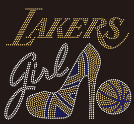 Lakers Girl Heel Basketball Rhinestone Transfer