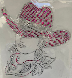 Cowgirl with Hat Fuchsia clear outline Rhinestone transfer
