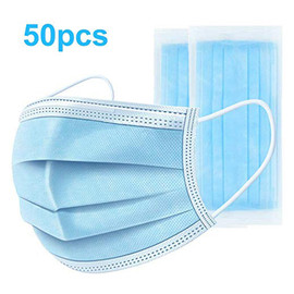 50 pcs Disposable Face Mask 3 Ply Earloop Disposable Non Woven Anti-Dust Meltblown Face Mask