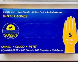 100 Vinyl Gloves (Small) Disposable Powder Free single use Sunset