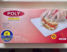 100 Poly Gloves (Large) Disposable Powder Free Sunset