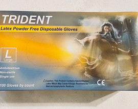 100 Latex Gloves (Large) Powder Free Trident Non-Sterile Single Use
