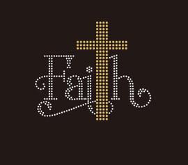 Faith with Golden Cross (small 5.4x4.6) - Rhinestone Transfer