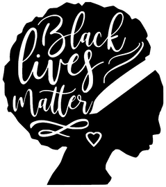 Black Lives Matter in Afro face Silhouette Vinyl Transfer