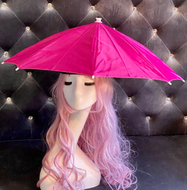 Hat Umbrella Hands free (Pink) for funny party, Beach party, Fishing, Gardening, Outdoor Hiking, sun and rain protection