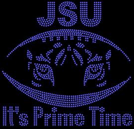 JSU Football Tiger face It's Prime Time - custom Rhinestone transfer