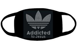 Addicted to Jesus (for mask) - custom Rhinestone transfer