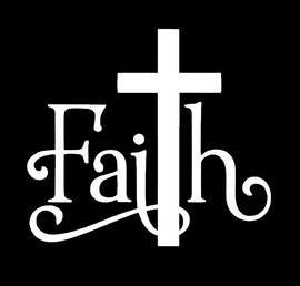 Faith word with Cross - Vinyl Transfer (WHITE)