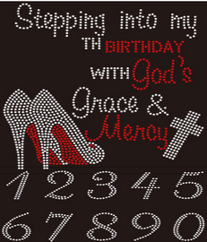 "(set of 2 transfers) (Stepping into my Birthday Heels) and (2.5"" Number sheet)  Rhinestone transfer"