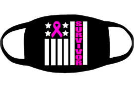SURVIVOR ribbon for mask - custom Vinyl Transfer (White and fushia)