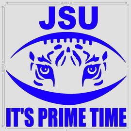 "(Large 11 x 11"") JSU Football tiger - Vinyl Transfer (ROYAL BLUE)"
