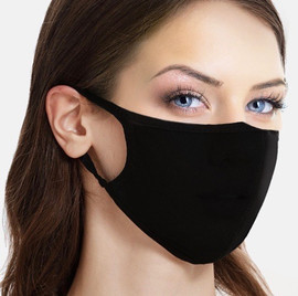 (Pack of 10) Super Soft Stretchy Cotton Face Mask Black 3 layers Washable (curved)