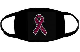 (4 qty) Cancer Ribbon (for mask) Rhinestone transfer
