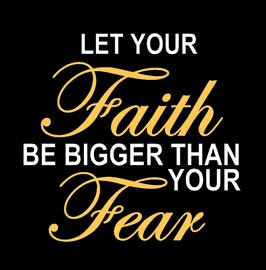 (Cursive) Let your Faith be bigger - custom Vinyl Transfer (WHITE AND GOLD)