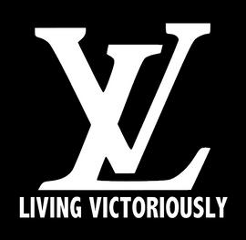 Living Victoriously LV - custom Vinyl Transfer (WHITE)