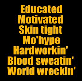 Educated Motivated Skin tight - custom Vinyl Transfer (Gold glitter vinyl)
