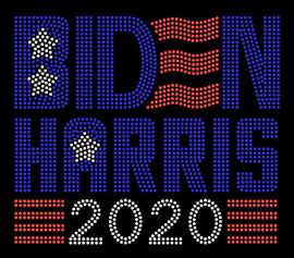 BIDEN HARRIS 2020 - Blue rhinestone Transfer