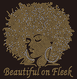 (10 qty) Beautiful on Fleek Golden Afro Girl custom Rhinestone Transfer BESTSELLER