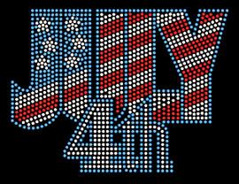 July 4th text, 4th of July USA Rhinestone Transfer