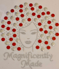 Magnificently Made Afro Girl Delta (13mm Red and Silver) (13mm) Rhinestone Transfer