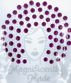 Magnificently Made Afro Girl (Vine) (13mm) Rhinestone Transfer