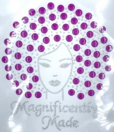 Magnificently Made Afro Girl (Raspberry) (13mm) Rhinestone Transfer