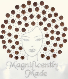 Magnificently Made Afro Girl (Coffee) (13mm) Rhinestone Transfer