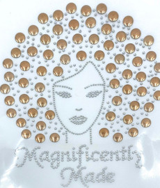 Magnificently Made Afro Girl (Champaigne) (13mm) Rhinestone Transfer